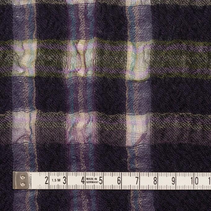 ウール&ポリエステル×チェック(ダークパープル)×ガーゼ_全3色 イメージ4
