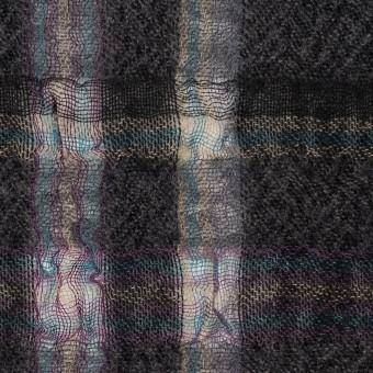 【150cmカット】ウール&ポリエステル×チェック(チャコールグレー)×ガーゼ_全3色