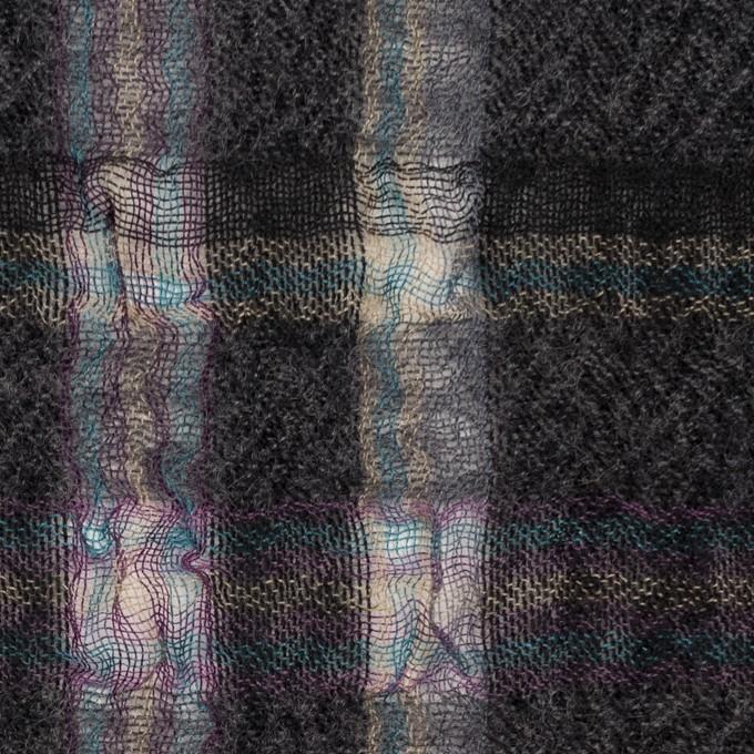 ウール&ポリエステル×チェック(チャコールグレー)×ガーゼ_全3色 イメージ1