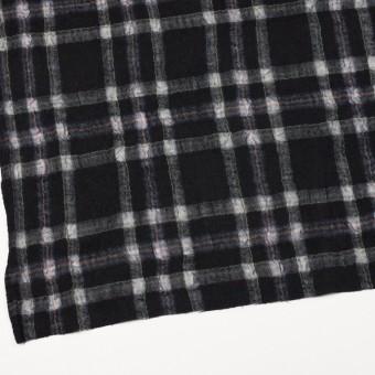 ウール&ポリエステル×チェック(ブラック)×ガーゼ_全3色 サムネイル2