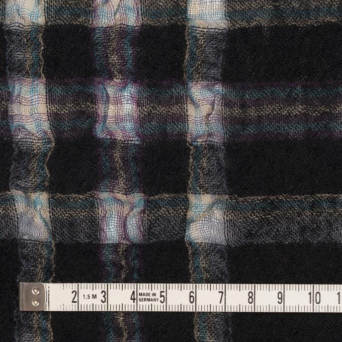 ウール&ポリエステル×チェック(ブラック)×ガーゼ_全3色 イメージ4