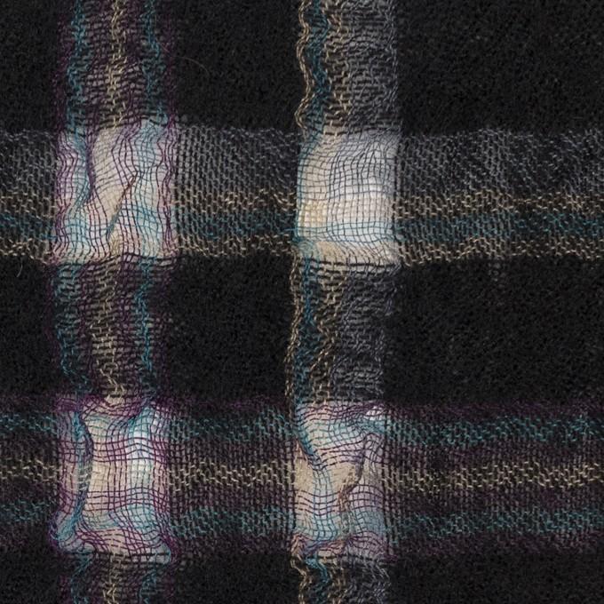 ウール&ポリエステル×チェック(ブラック)×ガーゼ_全3色 イメージ1
