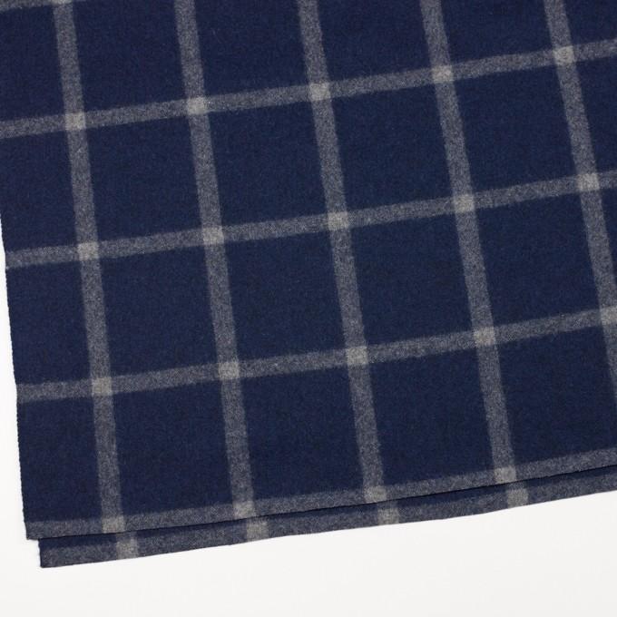 ウール×チェック(ミッドナイトブルー&グレー)×フラノ(フランネル) イメージ2