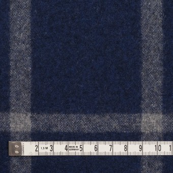 ウール×チェック(ミッドナイトブルー&グレー)×フラノ(フランネル) サムネイル4