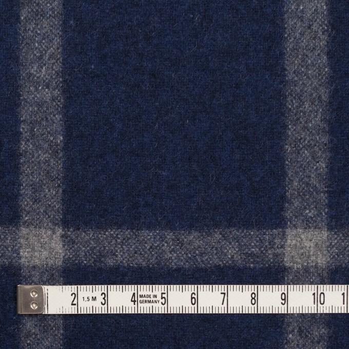 ウール×チェック(ミッドナイトブルー&グレー)×フラノ(フランネル) イメージ4