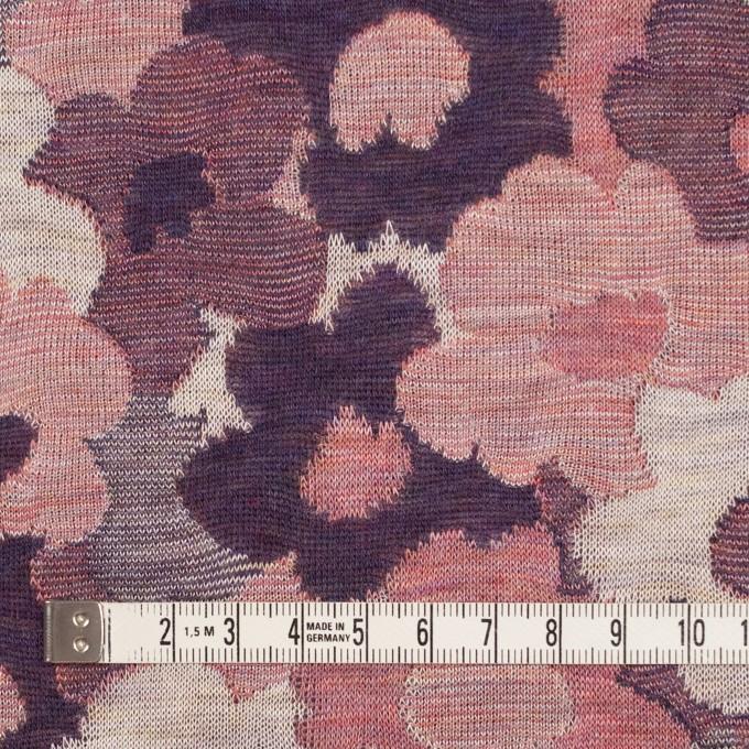 コットン×ポリエステル×フラワー(グレイッシュピンク&パープル)×Wニットジャガード イメージ4