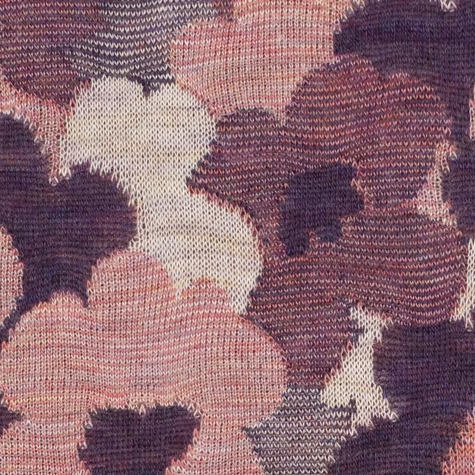 コットン×ポリエステル×フラワー(グレイッシュピンク&パープル)×Wニットジャガード イメージ1
