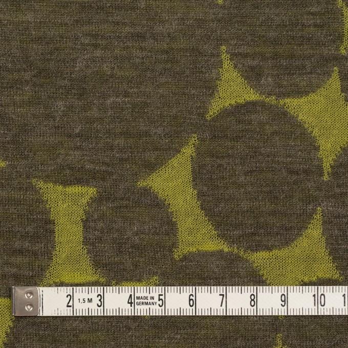ウール&ポリエステル×オーバル(イエローグリーン&カーキ)×Wニットジャガード イメージ4