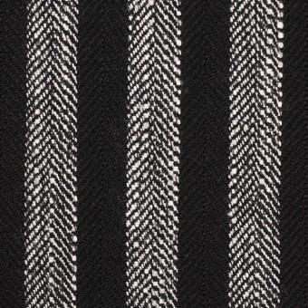 【100cmカット】ウール&テンセル混×ストライプ(シルバーグレー&ブラック)×ヘリンボーン