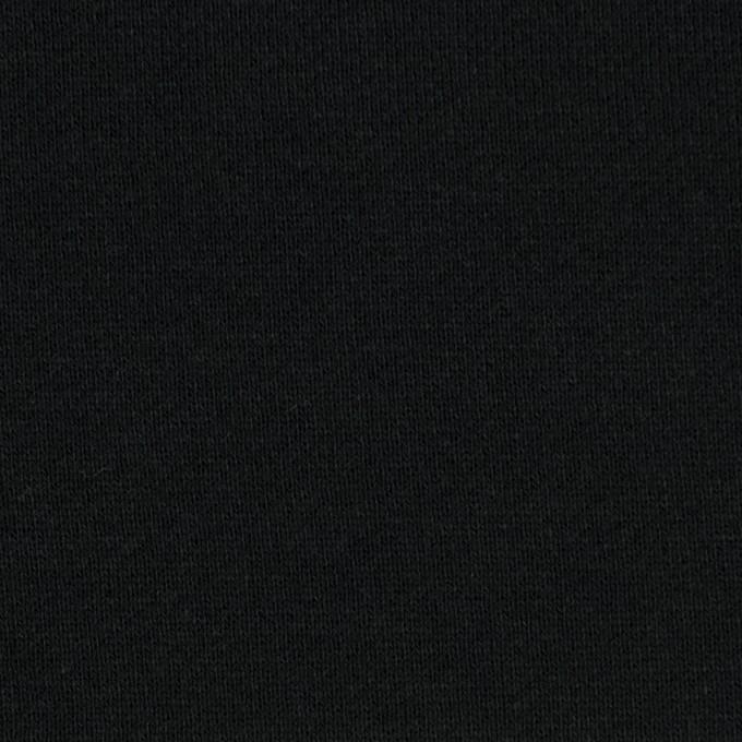 コットン&ポリエステル×無地(ブラック)×裏毛ニット(裏面起毛) イメージ1