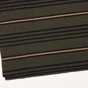 ウール&コットン×ボーダー(ウォームベージュ、ブラック&カーキグリーン)×かわり織 サムネイル2
