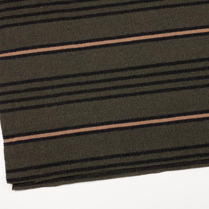 ウール&コットン×ボーダー(ウォームベージュ、ブラック&カーキグリーン)×かわり織 イメージ2
