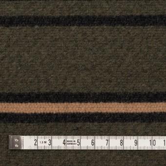 ウール&コットン×ボーダー(ウォームベージュ、ブラック&カーキグリーン)×かわり織 サムネイル4