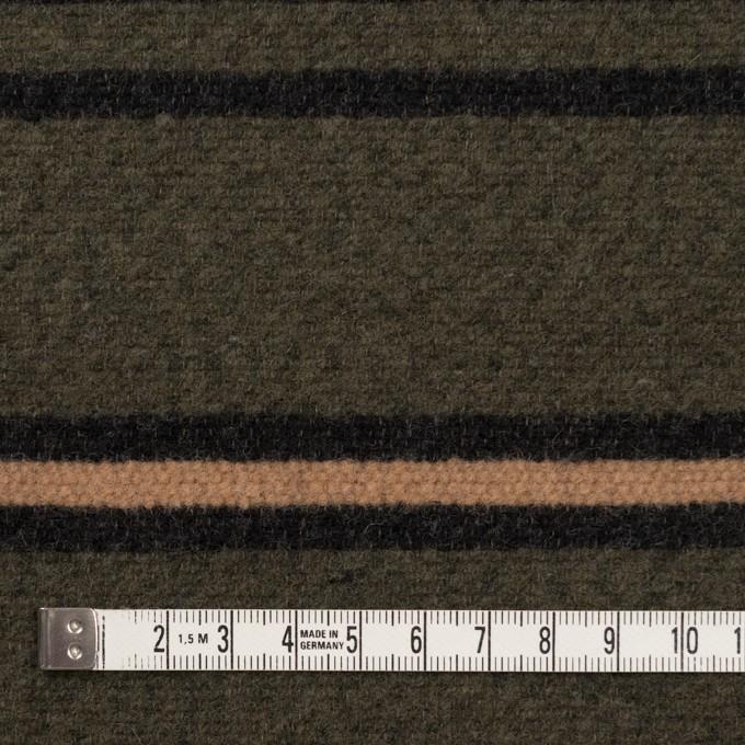 ウール&コットン×ボーダー(ウォームベージュ、ブラック&カーキグリーン)×かわり織 イメージ4