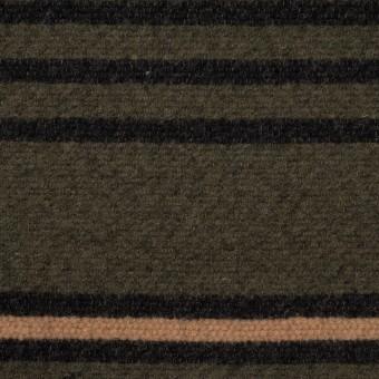 ウール&コットン×ボーダー(ウォームベージュ、ブラック&カーキグリーン)×かわり織 サムネイル1