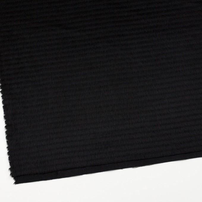 ウール&アクリル混×無地(ブラック)×シャギー イメージ2