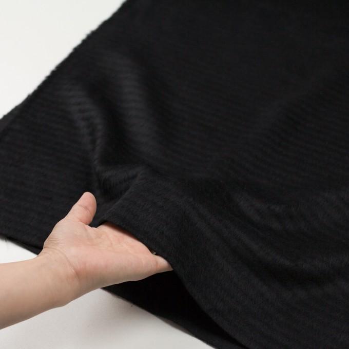 ウール&アクリル混×無地(ブラック)×シャギー イメージ5