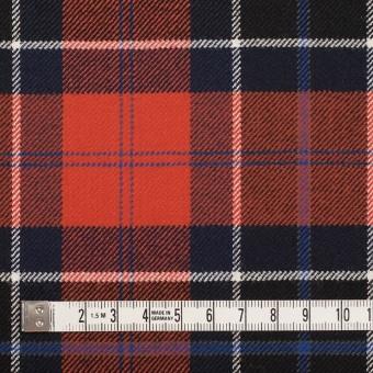 ウール&ポリウレタン×チェック(パッションオレンジ&ダークネイビー)×サージストレッチ_全2色 サムネイル4