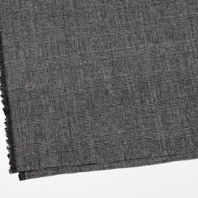 ウール&ナイロン×チェック(チャコールグレー)×かわり織 イメージ2