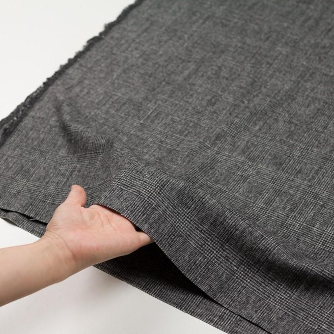 ウール&ナイロン×チェック(チャコールグレー)×かわり織 イメージ5