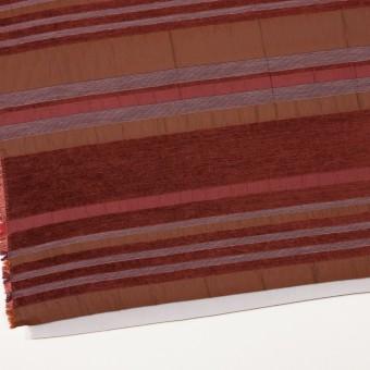 アクリル&ポリエステル混×ボーダー(ガーネット)×ジャガード(裏芯貼り)_イタリア製_パネル サムネイル2
