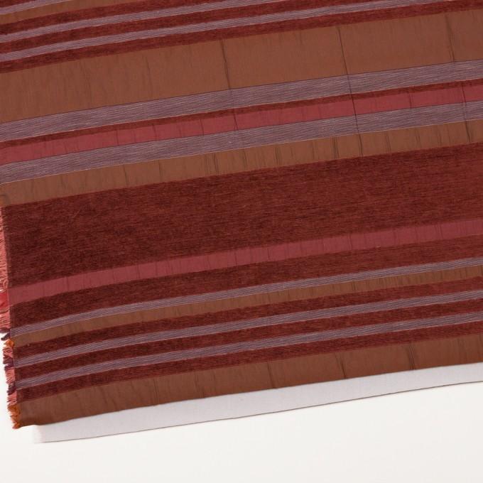 アクリル&ポリエステル混×ボーダー(ガーネット)×ジャガード(裏芯貼り)_イタリア製_パネル イメージ2