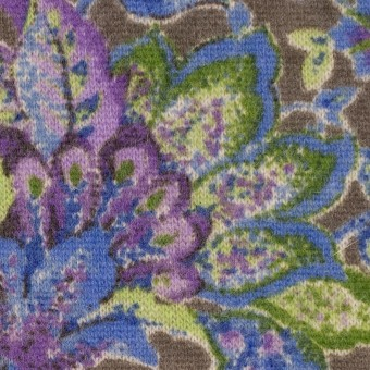 ウール&ナイロン混×更紗(パープル、グリーン&アッシュグレー)×天竺ニット