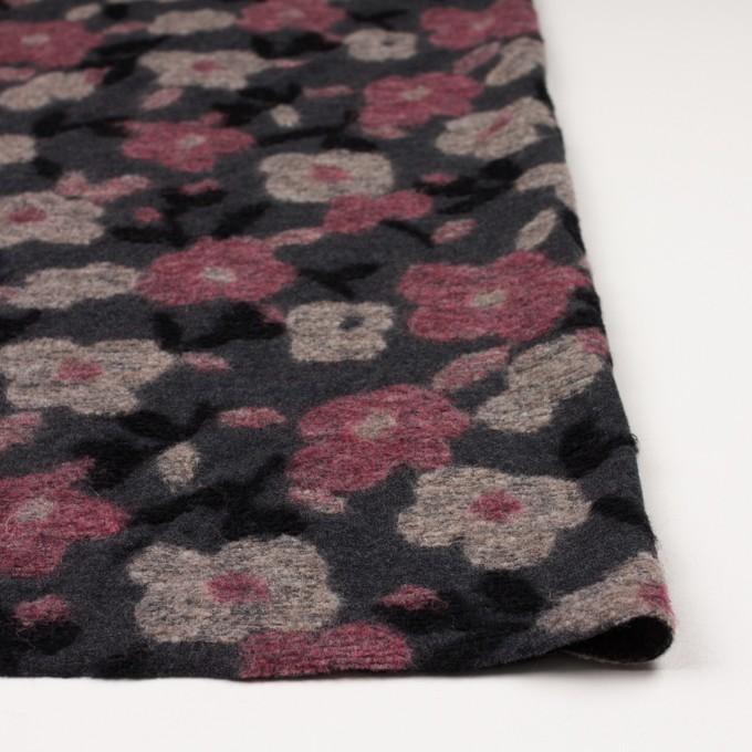 ウール×フラワー(ピンク&チャコールグレー)×ジャガードニット イメージ3