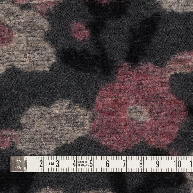 ウール×フラワー(ピンク&チャコールグレー)×ジャガードニット イメージ4