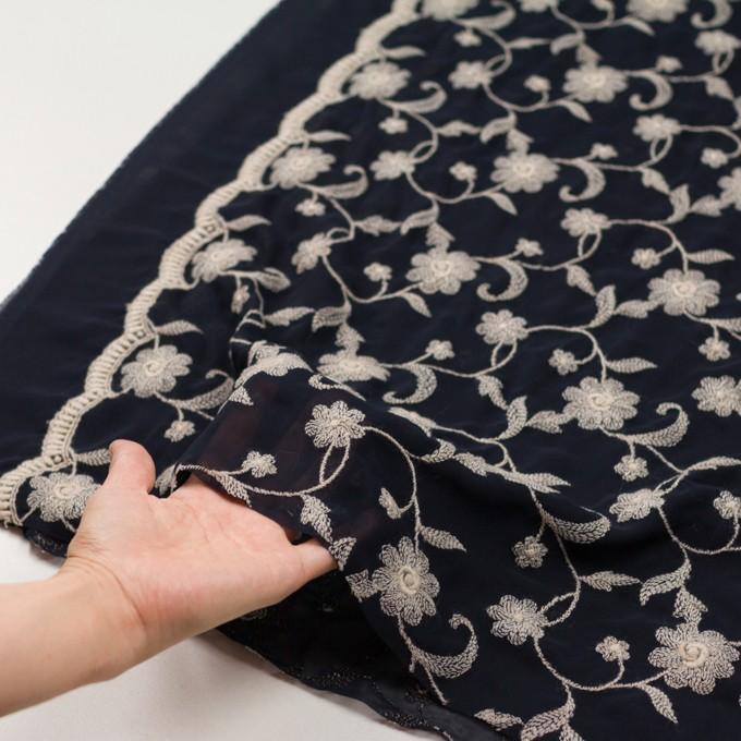 ポリエステル×フラワー(ダークネイビー&キナリ)×ジョーゼット刺繍 イメージ5