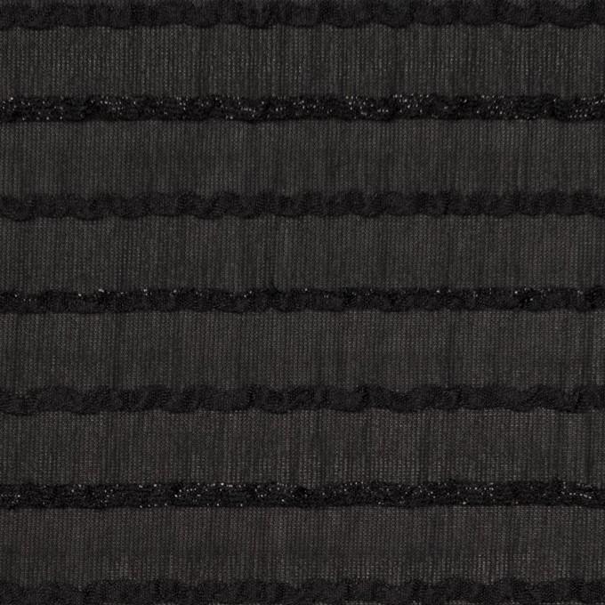 ポリエステル×ボーダー(ブラック)×ピンタックジョーゼット イメージ1