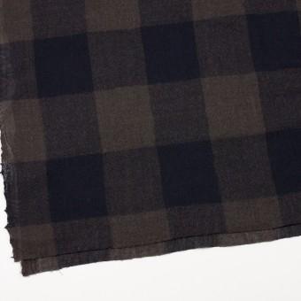 ウール×チェック(ブラウン&ネイビー)×ガーゼ_全3色 サムネイル2