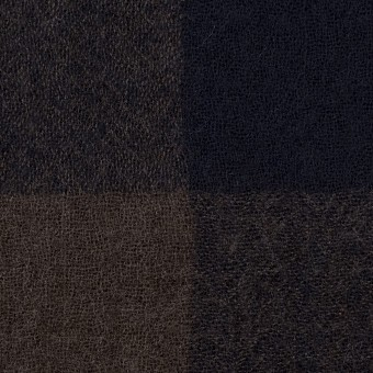 ウール×チェック(ブラウン&ネイビー)×ガーゼ_全3色 サムネイル1