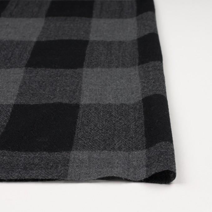 ウール×チェック(チャコールグレー&ブラック)×ガーゼ_全3色 イメージ3