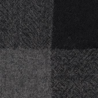 ウール×チェック(チャコールグレー&ブラック)×ガーゼ_全3色 サムネイル1