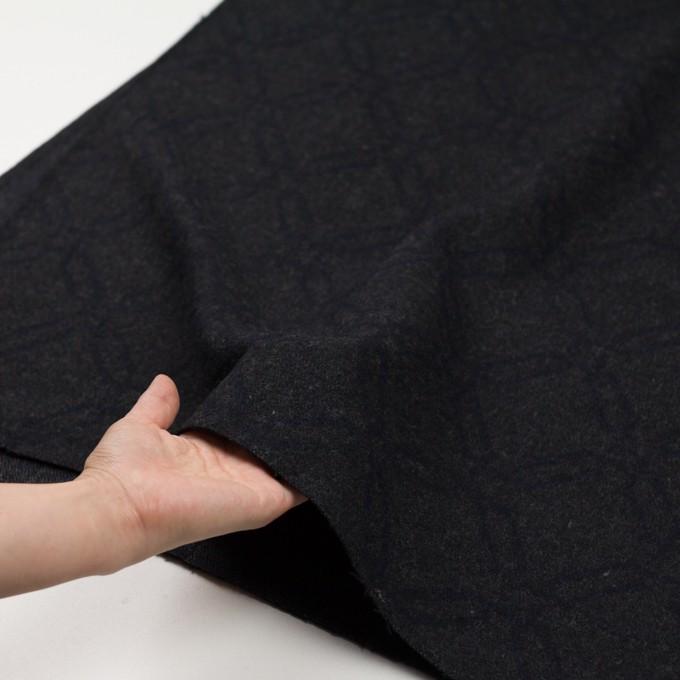 ウール&コットン×幾何学模様(チャコール)×二重織ジャガード イメージ5