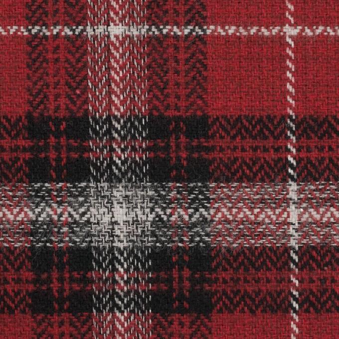 コットン×チェック(キナリ、ブラック&レッド)×ヘリンボーン イメージ1