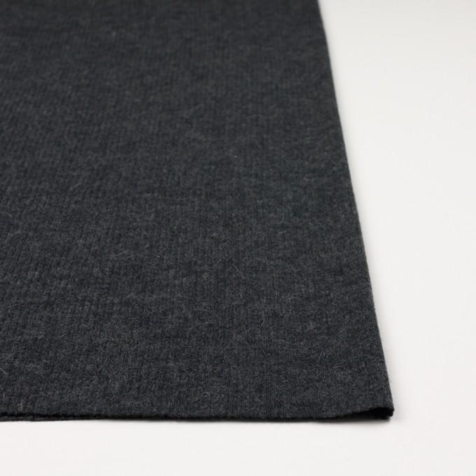 ポリエステル&ウール混×無地(チャコールグレー)×リブニット イメージ3