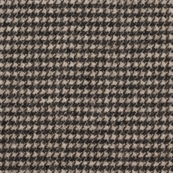 ウール&ナイロン×チェック(キナリ&ダークブラウン)×千鳥格子