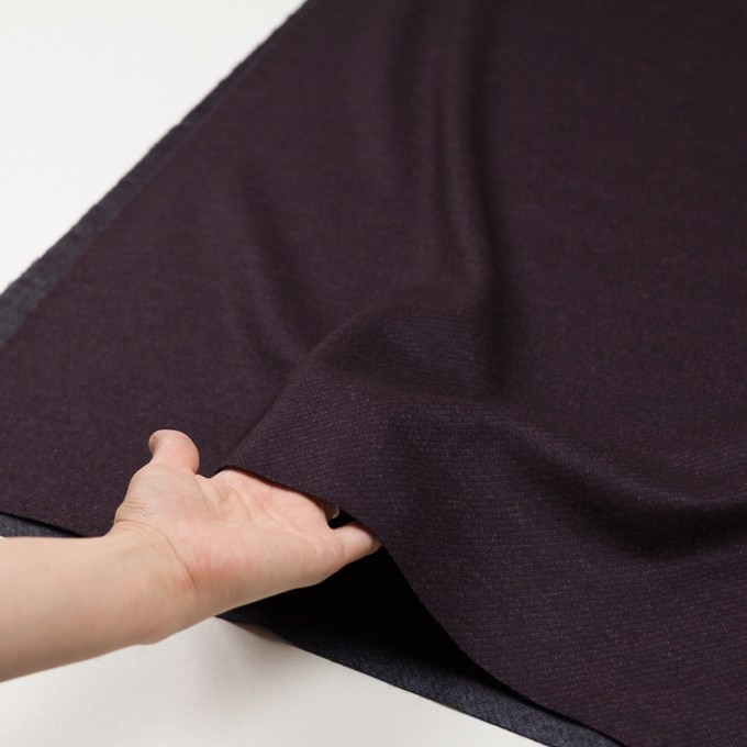 ウール&ナイロン混×無地(プラム)×かわり編み イメージ5