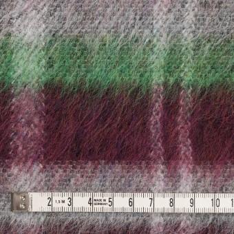 ポリエステル&ウール混×チェック(オフホワイト、グリーン&ガーネット)×シャギーニット_パネル サムネイル4