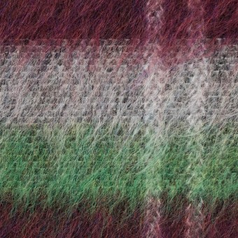 ポリエステル&ウール混×チェック(オフホワイト、グリーン&ガーネット)×シャギーニット_パネル サムネイル1