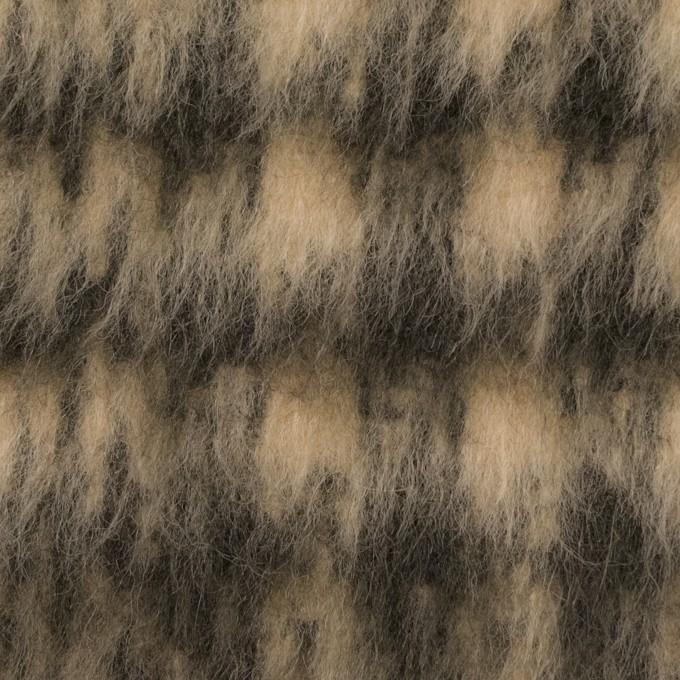 ポリエステル&ウール混×チェック(ベージュ&ダークブラウン)×シャギー イメージ1