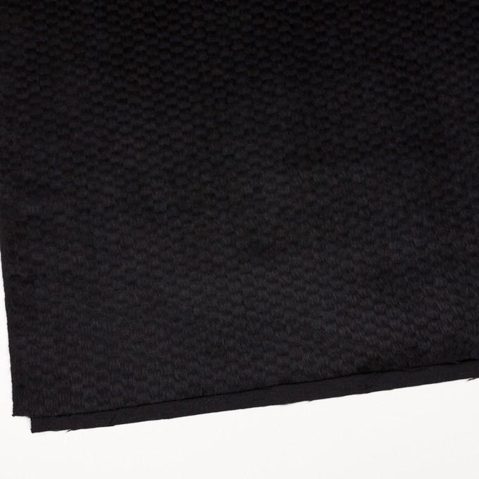 ウール&ナイロン×無地(ブラック)×シャギー_全2色 イメージ2