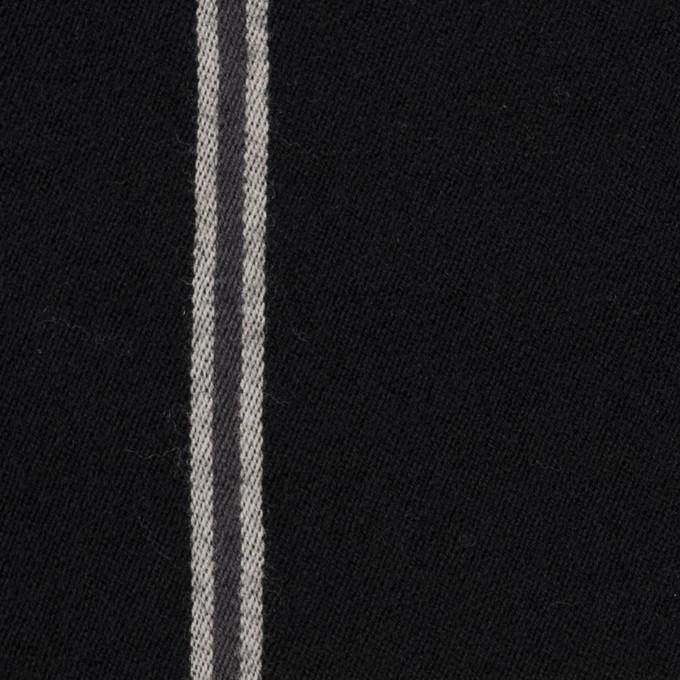 ウール&コットン×ストライプ(グレー&ブラック)×サージ イメージ1