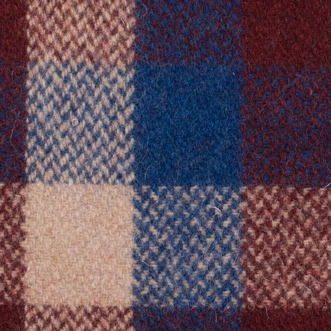 ウール×チェック(エンジ、アイボリー&マリンブルー)×ツイード_全2色 イメージ1
