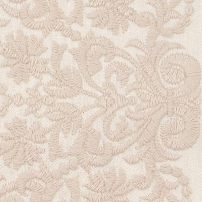 コットン×幾何学模様(クリーム&ウォームベージュ)×かわり織刺繍_全3色 イメージ1