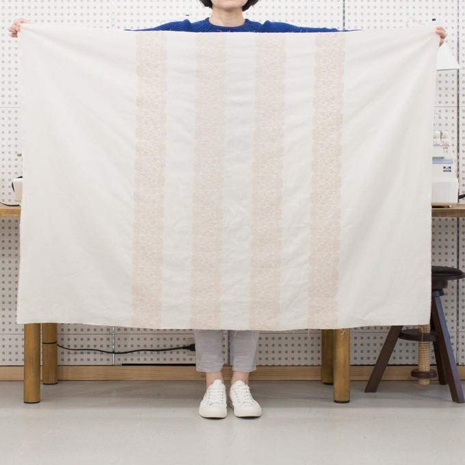 コットン×幾何学模様(クリーム&ウォームベージュ)×かわり織刺繍_全3色 イメージ6