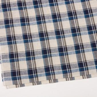 リネン&コットン×チェック(アイアンブルー)×薄サージ_全3色 サムネイル2