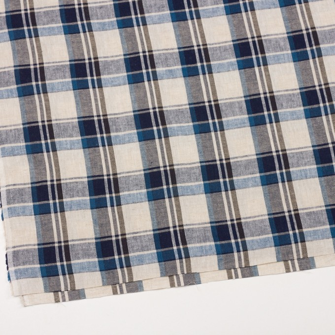 リネン&コットン×チェック(アイアンブルー)×薄サージ_全3色 イメージ2